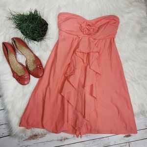 J. Crew Wild Rose Strapless Dress in Coral Size 0